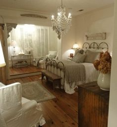 My dream bedroom! Antique Neutral Bedroom @ Home Idea Network Dream Bedroom, Home Bedroom, Bedroom Ideas, Pretty Bedroom, Bedroom Rustic, Bedroom Designs, Modern Bedroom, Bedroom Inspiration, Calm Bedroom