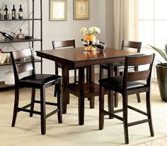 5 Pc Furniture Of America Norah Ii Counter Height Dining Table Set Cm3351pt 5pk