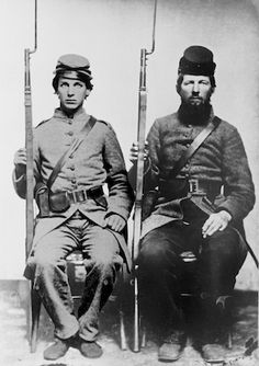 "Rufus K. Fielder (left) and his cousin Miers Fielder of Co. E, 5th Texas Infantry. Rufus King Fielder was 21 years old and Miers 29 years when the war broke out; Rufus was a student at Soule University at the time. Both enlisted in Capt. John Rogers' ""Dixie Blues"" at Washington, Texas on July 11, 1861."