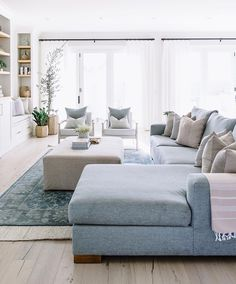 Best Grey wood floors for Interior design - The living room is normally the area in a home where the whole family gathers. Living Room Wood Floor, Blue Living Room Decor, New Living Room, Home And Living, Living Room Designs, Cozy Living Rooms, Light Blue Sofa, Living Room Inspiration, Furniture Inspiration