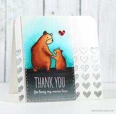 Akashiya Sai Watercolor Pens & Mama Elephant Bear Hugs - Color Wednesday #65