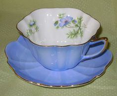Anne Fannie's Green Acres: Blue Monday - Blue Shelley Tea Cups