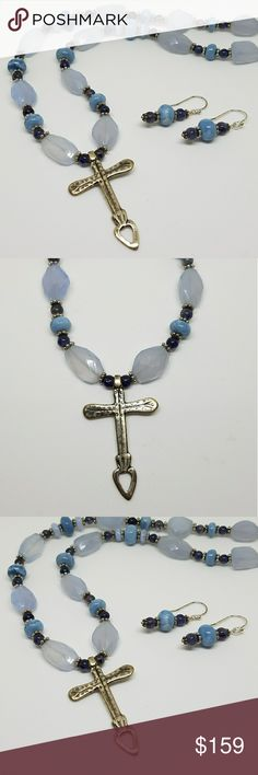 """Sterling silver cross necklace Reproduction of Mexican heart cross. Sterling silver. Handmade by me. Blue opal, chalcedony and iolite with SS cylindrical magnetic clasp.  Earrings included in set. Cross is 1 3/4"""" in length. Jewelry"""