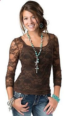 Bozzolo Womens Brown Sheer Floral Lace Long Sleeve Fashion Top   Cavenders Boot City