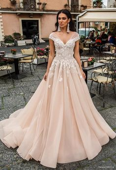featuring - Innocentia 2019 toarmina bridal off the shoulder sweetheart neckline heavily embellished bodice romantic blush a line wedding dress mid back chapel train mv -- Innocentia 2019 Wedding Dresses ~ Colored Wedding Gowns, Blush Pink Wedding Dress, Perfect Wedding Dress, Dream Wedding Dresses, Colorful Wedding Dresses, Unique Dresses, Beautiful Dresses, Bridal Dresses, Backless Wedding Dresses
