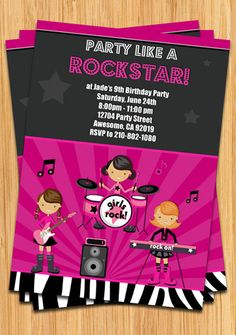 girls rock star birthday party invitation