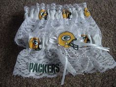 Green Bay Packers Football NFL Bridal Garter Set White lace Regular Plus size