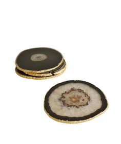 Set of 4 Agate Coasters with Gold Leaf Edge
