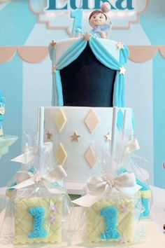 Check out this fun blue circus-themed 1st birthday party! The birthday cake is so cute! See more party ideas and share yours at CatchMyParty.com Boys 1st Birthday Party Ideas, Circus Birthday, 1st Boy Birthday, Birthday Party Decorations, Birthday Cake, Carnival Party Foods, Circus Carnival Party, Circus Cakes, Bridal Shower Cakes