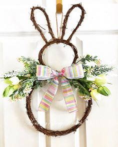 A personal favorite from my Etsy shop #bunny #easterwreath #bunnywreath #easterdecor #bunny #easterdecorforsale