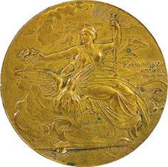 Participation medal, 1896  All participants in the first modern Olympics received a bronze medal designed by Belgian sculptor Godefroid Devreese (1861–1940). First-place winners were awarded silver medals and olive wreaths, while the second-place finishers received copper medals and laurel crowns. At the 1904 St. Louis Olympics, gold, silver, and bronze medals were awarded for the first time.