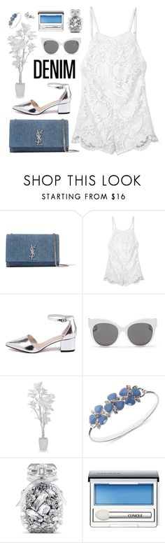 """Senza titolo #644"" by elly3 ❤ liked on Polyvore featuring Yves Saint Laurent, Stone_Cold_Fox, Blanc & Eclare, Anne Klein, Victoria's Secret, Clinique, Guide London, denim and DenimStyle"