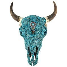 Turquoise Cow Skull Wall Mount Sculpture In 2020 Cow Skull Cow Skull Art Painted Cow Skulls