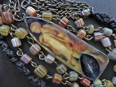 Art necklace with rustic resin Diana the Hunter by fancifuldevices