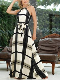 Plaid Print Halter Self Belted Maxi Dress dresses to wear to a wedding dresses short dress outfit dress dress dresses modest dresses Trendy Dresses, Modest Dresses, Casual Dresses, Fashion Dresses, Summer Dresses, Maxi Dresses, Work Dresses, Party Dresses, Fashion Blouses