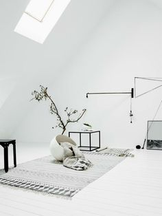 white floor, white walls, grey rug, skylight