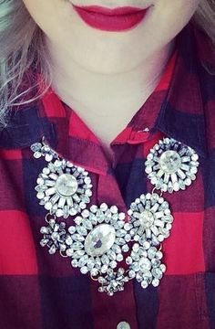 Pretty plaid + sparkle + red lip