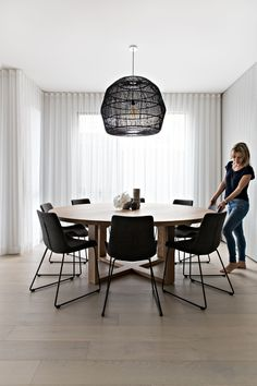 Thinking about a table and chairs similar to this for dining room. Dining Table Lighting, Dining Nook, Dining Room Design, Dining Room Table, Dining Chairs, Pendant Light Dining Room, Dining Menu, Dining Room Inspiration, Living Room Decor