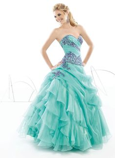 1d9f1897fc0 2015 A line Appealing Exquisite Absorbing Sweetheart Neckline Applique  Ruffle Tiered Blue Organza Floor Length Prom Dress HOT SALE!
