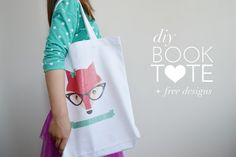 DIY Book Tote with free printable designs.
