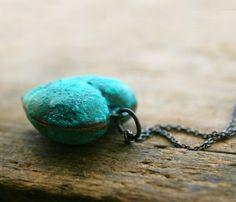 Sunken Treasure - An aged, vintage brass heart charmon oxidized sterling silver chain - Valentine Gift