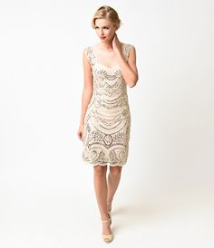 1920s Style Cream  Gold Beaded Deco Illusion Short Flapper Wedding Party Dress $78.00 AT vintagedancer.com