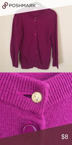 JCrew Cardi Beautiful magenta cardi. This is a reposh that was missing two buttons. Sewed buttons on one of which is a jcrew gold accent button J. Crew Sweaters Cardigans