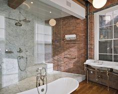 Inspiração décor de banheiros – revestimento com tijolinhos aparentes!