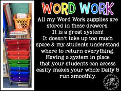 Daily Five - Word Work {focused around primary grades} | A Burst of First