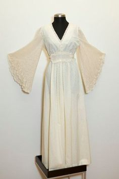 Off White Crochet Angel Bell Sleeve Vintage 70s Wedding Maxi dress Plus size - KEEP for article -