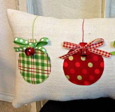 Christmas Pillow Burlap Christmas Pillow Fabric Christmas Ornaments Pillow Jingle Bell Christmas Pillow Holiday Xmas gift by sherisewsweet on Etsy Fabric Christmas Ornaments, Christmas Bells, Christmas Diy, Diy Christmas Pillows, Fabric Christmas Decorations, Burlap Ornaments, Rustic Christmas, Christmas Swags, Christmas Sewing Gifts