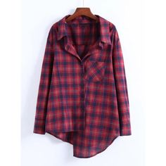 SheIn(sheinside) Front Pocket Asymmetrical Plaid Blouse ($20) ❤ liked on Polyvore featuring tops, blouses, burgundy, purple top, tartan blouse, plaid top, purple blouse and tartan plaid blouse