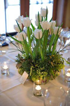 white tulips wedding centerpieces   Sangmaestro
