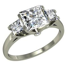 1.00 Ct. K-SI2 Princess Cut 3-Stone Diamond Engagement Ring With 2 Side Diamonds