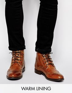ASOS Brogue Boots in Leather With Shearling Look Lining