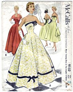 FREE SHIPPING Vintage 1952 McCall's 9152 Sewing Pattern Misses' Evening Dress in Two Lengths and Bolero Size 14 Bust 32