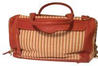 Rebecca Minkoff Morning After Satchel in Coral Leather/ Coral-Cream Striped Fabric