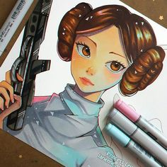 Leia normal and Leia as spirit 😢 I wanted to test the swiping thing 😂 -- Larienne.deviantart.com --