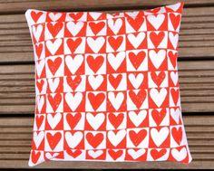 Screen Printed Love Hearts Cushion