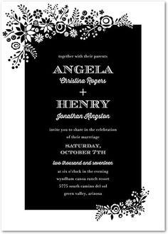 Stylish Spray - Signature White Wedding Invitations - Pinkerton Design - Black : Front