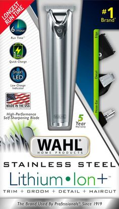 Shop Wahl Lithium Ion +™ Beard Trimmer Stainless Steel at Best Buy. Underarm Hair Removal, Hair Removal Cream, Remove Unwanted Facial Hair, Unwanted Hair, Hair Removal Machine, Hair Removal Methods, Beard Trimming, Grooming Kit, Hair A