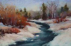 Winter Snow Landscape Stream Original Pastel by Karen Margulis