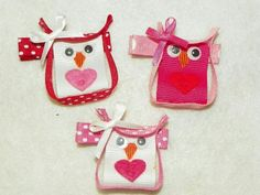 Valentine's day owl hair bow clips