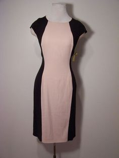 French Connection Pale Pink Black Cap Sleeve Skinny Illusion Dress EUR14 US10 | eBay