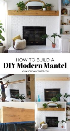 Update an old fireplace mantel with a DIY modern mantel. This DIY mantel tutorial is easy to follow and will transform your living room!