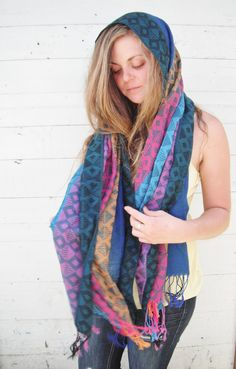 15 OFF SALE 1970s native print scarf in by ArieleSierraDesigns, $14.99
