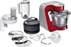 This Bosch red food mixer has a motor, a pulse function, Planetary Mixing and comes with 12 dishwasher safe accessories. Robot Masterchef, Cooking Appliances, Kitchen Appliances, Bosch Mum5, Kitchenaid Standmixer, Robot Thermomix, Kitchen Machine, Red Kitchen, Shopping