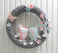 Cute Owls and Flower Tree, Floral Butterfly, Pastel Colors, For Twin Baby Girl Door Wreath, Gray-White Polka Dots