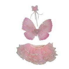 Fairy Set Candy Floss. Een lief elfensetje met een roze rokje, afgewerkt met zilveren biesjes. Met bijpassende vleugels en stafje.