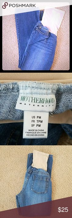 Motherhood Maternity Stretchy Boot-Cut Jeans Medium wash stretch maternity jeans. Lightly worn for about 4 months during one pregnancy. Nude silky elastic belly band. No rips, holes, or stains. Clean, smoke-free home! Motherhood Maternity Jeans Boot Cut